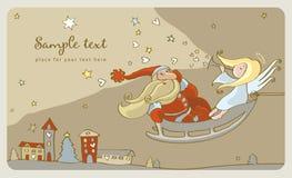 Santa Claus And A Angel In A Sleigh. Postcard Stock Photos