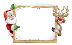 Free Santa Claus And Reindeer Christmas Sign Cartoon Royalty Free Stock Photo - 159813605