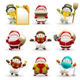 Santa Claus And Snowman Set Stock Photos