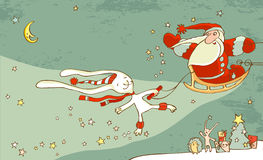 Santa Claus And White Hare. Stock Image