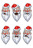 Santa Claus angry emotions set. Illustration head of Santa Claus with angry emotions. Available in vector EPS format Stock Photography