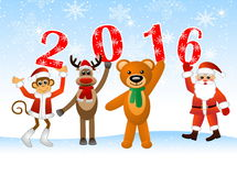 Santa Claus and animal   holding numbers 2016. Monkey, deer, bear and Santa Claus holding numbers 2016, vector illustration Stock Images