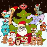 Santa Claus and animals next to a Christmas tree.  vector illustration