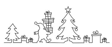 Santa Claus apporte beaucoup de présents illustration stock