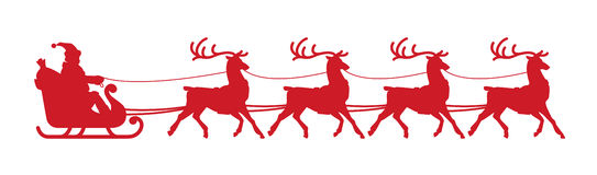 Santa Claus-ar Kerstmiselement op witte achtergrond wordt geïsoleerd die Vector Silhouet royalty-vrije illustratie