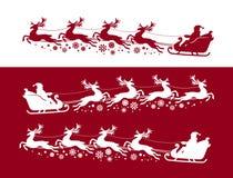 Santa Claus in ar met rendier Kerstmis, Kerstmisconcept Silhouet vectorillustratie vector illustratie