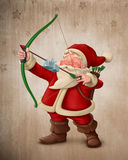 Santa Claus archer. With the gift on the arrow Stock Images