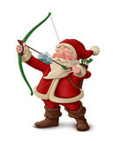 Santa Claus archer - White background. Santa Claus archer with the gift on the arrow Stock Images