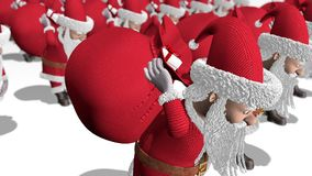 Santa Claus army carries bags of gifts. Merry Christmas and Happy New Year 2020 animation. Seamless loop. Santa Claus army carries bags of gifts. Merry stock illustration