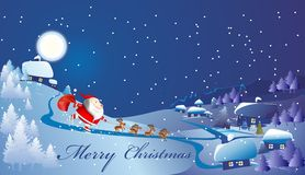 Santa Claus arrived. Composition with Santa Claus, which goes on skates and reindeer pulling him Royalty Free Stock Images