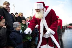 Santa Claus arrives in Aalborg. Santa Claus travelled from his home in Greenland to Aalborg, where he met the many children who were waiting for him at the Royalty Free Stock Photography