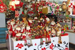 Santa Claus Christmas decorations, Hongkong, China. A collection of Santa Claus (Saint Nicholas) dolls as Christmas decorations in Hongkong, China Stock Image