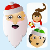 Santa Claus, assistants-elves and Mrs. are team happy Christmas Stock Photography