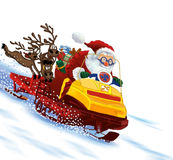 Santa Claus astride a snowmobile Stock Photography
