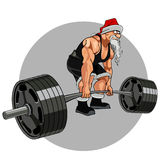 Santa Claus athlete with a barbell. Cartoon Santa Claus athlete with a barbell Royalty Free Stock Photos