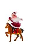 Santa Claus auf einem Pferd Stockfotos