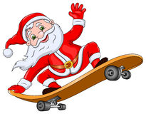 Santa Claus auf Skateboard Lizenzfreies Stockfoto
