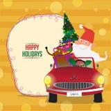 Santa Claus in auto voor Kerstmisviering Royalty-vrije Stock Afbeeldingen