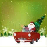 Santa Claus in auto voor Kerstmisviering Royalty-vrije Stock Foto