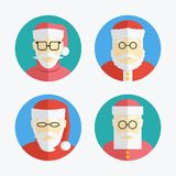 Santa Claus avatar. Flat icons collection. vector Stock Photography