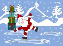 Santa Claus avec des cadeaux dans les boîtes patinent à la piste Photographie stock libre de droits