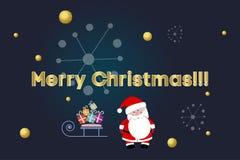 Santa Claus avec des cadeaux sur le traîneau Texte d'or Joyeux Noël Flocons de neige et boules d'or de Noël Invitation d'an neuf Photo libre de droits
