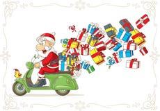 Santa Claus avec des présents sur la bande dessinée de vecteur de scooter Photos libres de droits