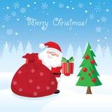 Santa Claus avec la carte de Noël de cadeaux illustration stock