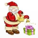 Santa Claus avec la cloche et le cadeau illustration de vecteur