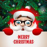 Santa Claus avec la grande enseigne Conception de lettrage de Joyeux Noël Typographie créative pour la salutation de vacances, ve illustration libre de droits