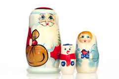 Santa Claus avec la jeune fille et le bonhomme de neige de neige Photo libre de droits