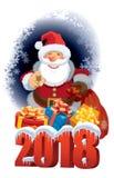 Santa Claus avec la nouvelle année 2018 Image libre de droits