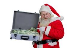 Santa Claus avec la pleine caisse d'argent Photos stock