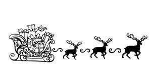 Santa Claus avec la silhouette de noir de symbole de Sleigh de renne Photo stock