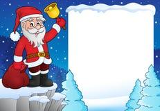 Santa Claus avec le cadre 3 de thème de cloche Image libre de droits