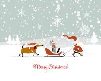 Santa Claus avec le chat et le chien Carte de Noël illustration de vecteur