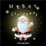 Santa Claus avec le fond de Noël et le vecteur de carte de voeux Images stock
