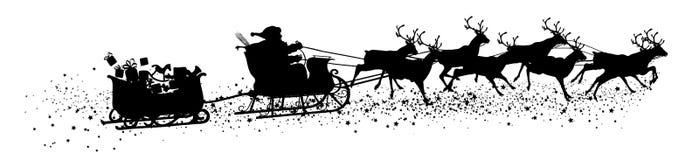 Santa Claus avec le renne Sleigh et la remorque - vecteur noir Silh illustration de vecteur