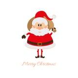 Santa Claus avec un sac avec des cadeaux derrière elle de retour Images stock