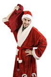 Santa Claus avec un sac des cadeaux Image stock