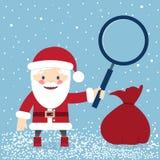 Santa Claus avec un sac des cadeaux et de tenir une loupe illustration stock