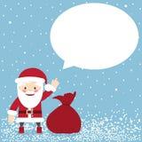 Santa Claus avec un sac des cadeaux et la parole bouillonnent illustration de vecteur
