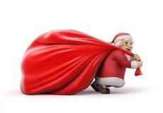 Santa Claus avec un sac lourd des cadeaux Images libres de droits