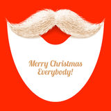 Santa Claus-baard en snor, Kerstkaart stock illustratie