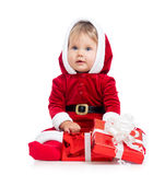 Santa Claus baby girl with gift box on white Royalty Free Stock Image