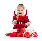 Santa Claus baby girl with gift box on white Royalty Free Stock Photos