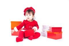 Santa Claus baby girl Stock Photos