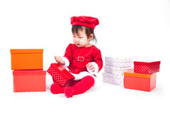 Santa Claus baby girl Stock Image