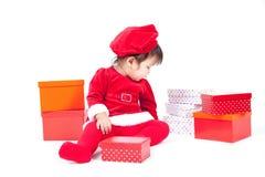 Santa Claus baby girl Stock Images