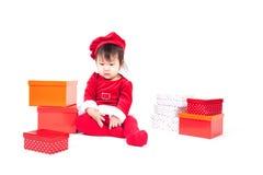 Santa Claus baby girl Stock Photo